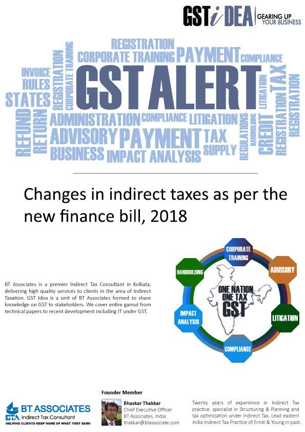 Changes in indirect taxes as per the new finance bill, 2018